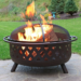 Sunnydaze 36 Inch Large Bronze Crossweave Fire Pit with Spark Screen