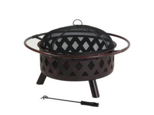 Sunnydaze 30 Inch Bronze Crossweave Wood Burning Fire Pit with Spark Screen